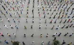Cours de sport dans une école primaire en Chine, le 30 mai 2007.