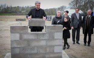 Patrick Kirn, PDG de la Maison Kirn, lors de la pose de la première pierre du nouveau site de production à Illkirch-Graffenstaden.