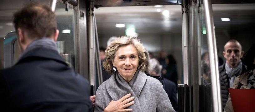 Valérie Pécresse, présidente de la région Ile-de-France et d'Ile-de-France Mobilités, dans le métro. (Illustration)