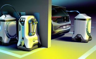 Le robot de recharge de voiture électrique imaginé par Volkswagen.