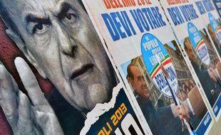 Affiches électorales italiennes, le 26 février à Rome.