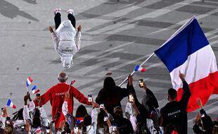 La délégation française lors de la cérémonie d'ouverture des JO de Tokyo le 23 juillet 2021.