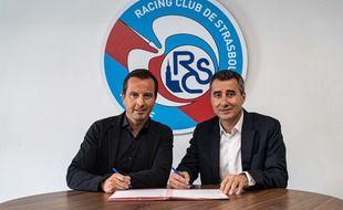 Julien Stéphan avec le président du RC Strasbourg, Marc Keller.