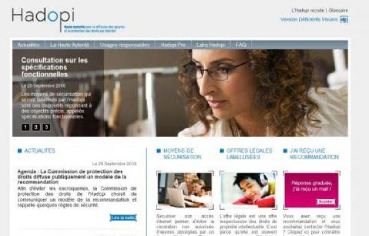 Capture d'écran du site Hadopi – 20Minutes.fr