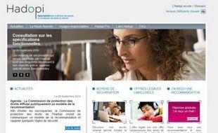 Capture d'écran du site Hadopi