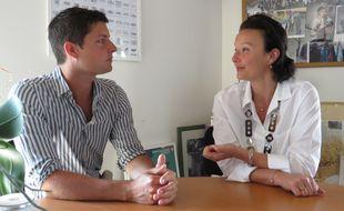 Mathieu Grapeloup et Laure-Agnès Caradec en plein débat.