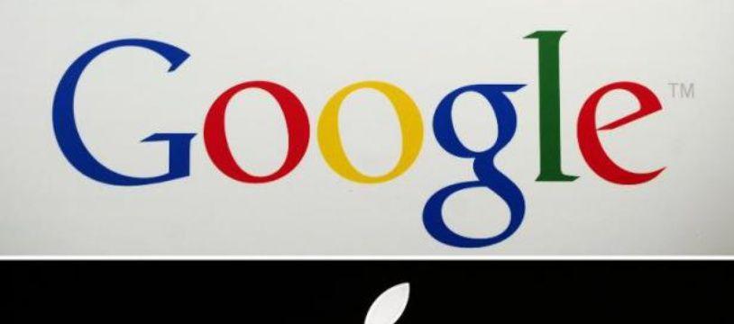 Les logos de Google et Apple.