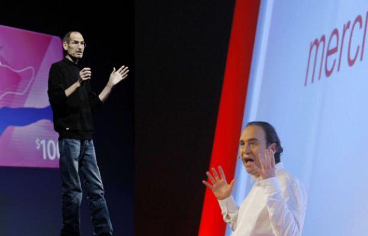 A gauche, Steve Jobs, le défunt patron d'Apple.A droite, Xavier Niel, le patron de Free. – Paul Sakuma/AP/SIPA et Jacques Brinon/AP/SIPA