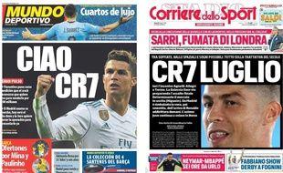 La presse espagnol et italienne font leurs gros titres sur Ronaldo. — Mundo Deportivo / Corriere Dello Sport / Marca - capture écran