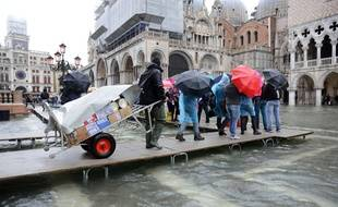 Venise sous les eaux pendant «l'acqua alta», le 5 novembre 2014