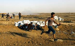 Les combats entre Palestiniens et Israéliens sur la bande de Gaza, le 18 mai 2018.