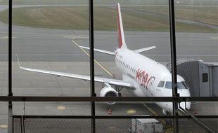 Lesquin, le 11 mars 2014. Un avion de la compagnie Hop! sur le tarmac de l'aŽroport de Lille-Lesquin.