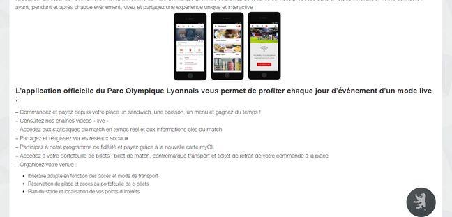 Application lancée par l'Olympique lyonnais