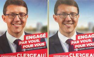 Affiches de campagne du candidat PS Christophe Clergeau.
