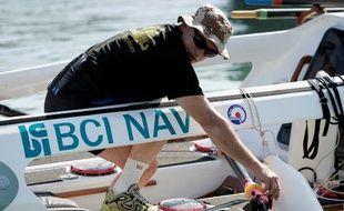 Bertrand de Gaullier des Bordes, au départ de la traversée de l'Atlantique à la rame «Bouvet Rames Guyane», le 8 mars 2009.