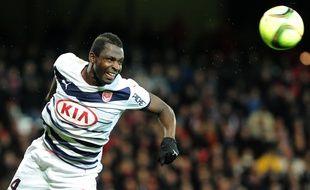 Cheick Diabaté, l'attaquant des Girondins de Bordeaux, lors d'un match joué à Guingamp le 13 février 2016.