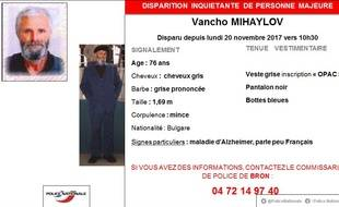 La police du Rhône lance un appel à témoins pour retrouver un homme de 76 ans atteint de la maladie d'Alzheimer et ne parlant peu Français.