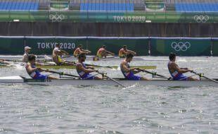 Le quatre de pointe sans barreur italien, le 28 juillet 2021 à Tokyo.