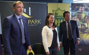 Yoann Joubert, patron de Réalités et Johanna Rolland, maire de Nantes et Waldemar Kita, président du FCN.