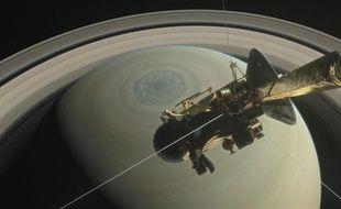 Vue d'artiste de la sonde Cassini au-dessus de Saturne.