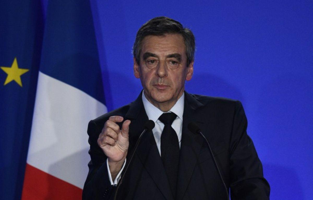 François Fillon lors de sa conférence de presse à son QG à Paris, le 6 février 2017. – Martin BUREAU / AFP