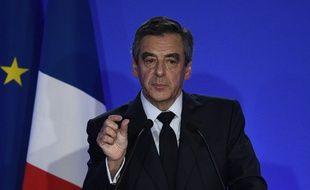 François Fillon lors de sa conférence de presse à son QG à Paris, le 6 février 2017.