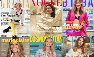 Montage de plusieurs couvertures de magazines féminins, au 3 avril 2020.