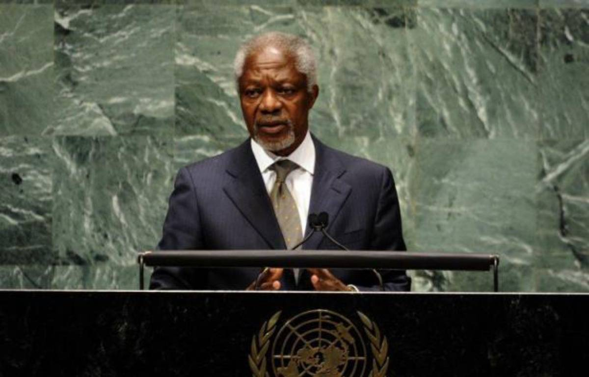 Joint Special Envoy for Syria, Kofi Annan addresses the 66th session of the General Assembly on the situation in the Syrian Arab Republic at the United Nations June 7, 2012 in New York. AFP PHOTO TIMOTHY A. CLARY – Timothy A. Clary afp.com