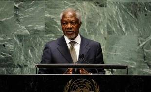 Joint Special Envoy for Syria, Kofi Annan addresses the 66th session of the General Assembly on the situation in the Syrian Arab Republic at the United Nations June 7, 2012 in New York. AFP PHOTO TIMOTHY A. CLARY