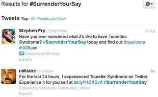 Des internautes évoquent le #Surrenderyoursay, une initiative pour lutter contre le syndromes Gilles de la Tourrette, le 20 juin 2013.