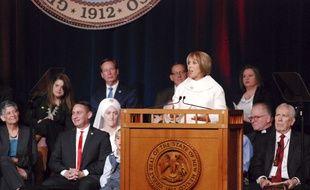 La gouverneure du Nouveau-Mexique, Michelle Lujan Grisham, à Santa Fe le 1er janvier 2019.