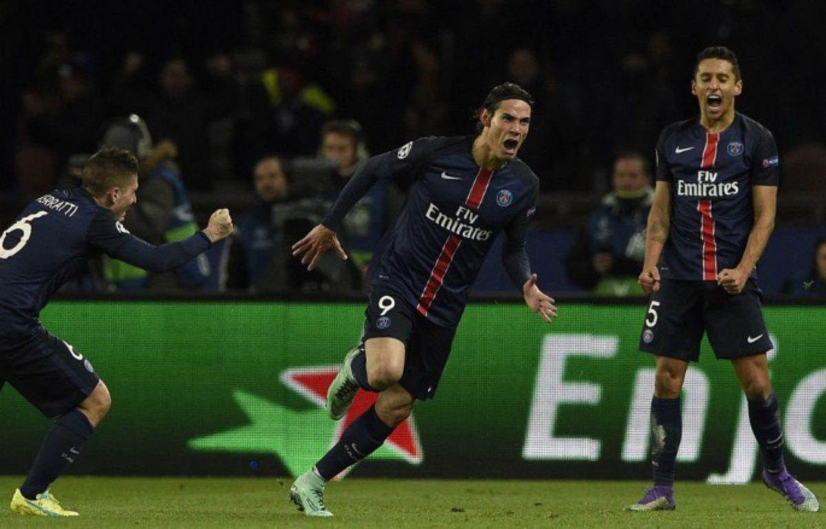 La joie de Cavani après avoir marqué le 2e but du PSG contre Chelsea (2-1) en 8e de finale de Ligue des champions, le 16 février 2016.  – FRANCK FIFE / AFP