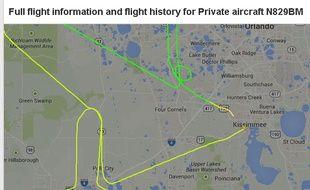 Un pénis dessiné sur le site Flightradar24.