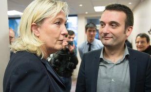 Florian Philippot et Marine Le Pen à Nanterre en mars 2015