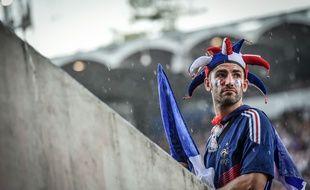 Un supporter des Bleus à Bordeaux le 15 juillet 2018 avant la finale de la Coupe du Monde entre la France et la Croatie.