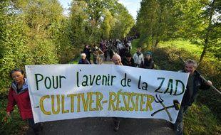 Manifestation sur la ZAD de Notre-Dame-des-Landes le 21 octobre 2017.