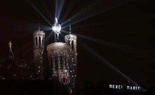 Illustration de la  fete des lumieres a lyon du 5 au 8 decembre 2014. Basilique de Fourviere, Convergences. Lyon, (Rhone) FRANCE-0/12/2014./FAYOLLE_Photo043/Credit:Pascal Fayolle/SIPA/1412052107