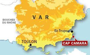 Carte de localisation du cap Camarat où une vedette a chaviré le 17 juillet 2009.