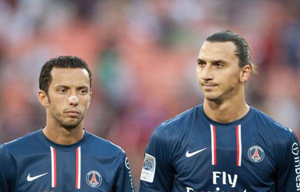 Nenê et Zlatan Ibrahimovic avant le match amical face à DCUnited, le 28 juillet 2012 à Washington. – NICHOLAS KAMM/AFP.COM
