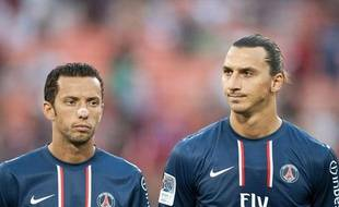 Nenê et Zlatan Ibrahimovic avant le match amical face à DC United, le 28 juillet 2012 à Washington.