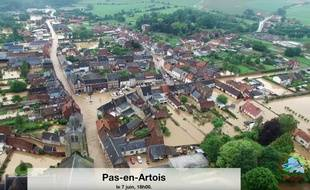 Capture d'écran d'une vidéo aérienne réalisée par les pompiers du Pas-de-Calais.