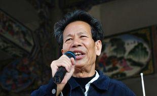 Le chef du village de Wukan Lin Zulian lors d'un discours devant les habitants, le 21 décembre 2011 dans la province du Guangdong en Chine