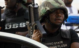Illustration de forces de sécurité nigérianes luttant contre le groupe djihadiste Boko Haram.