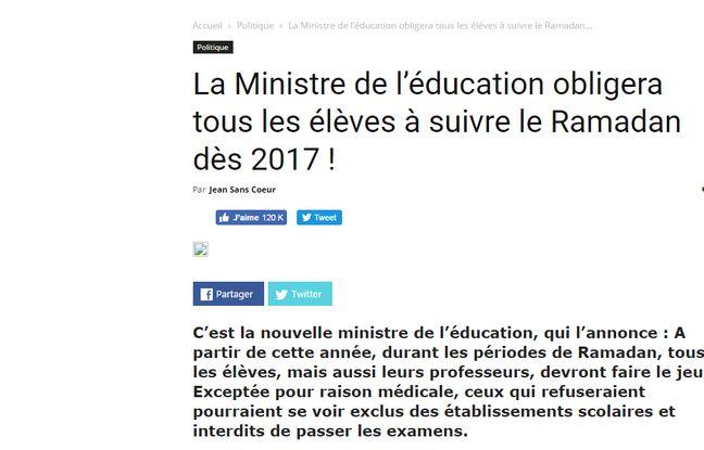 Le site parodique Nordpresse vvise une ministre de l'Education.