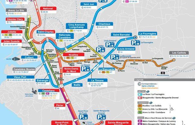 Les lignes de métro et de tram à Marseille.