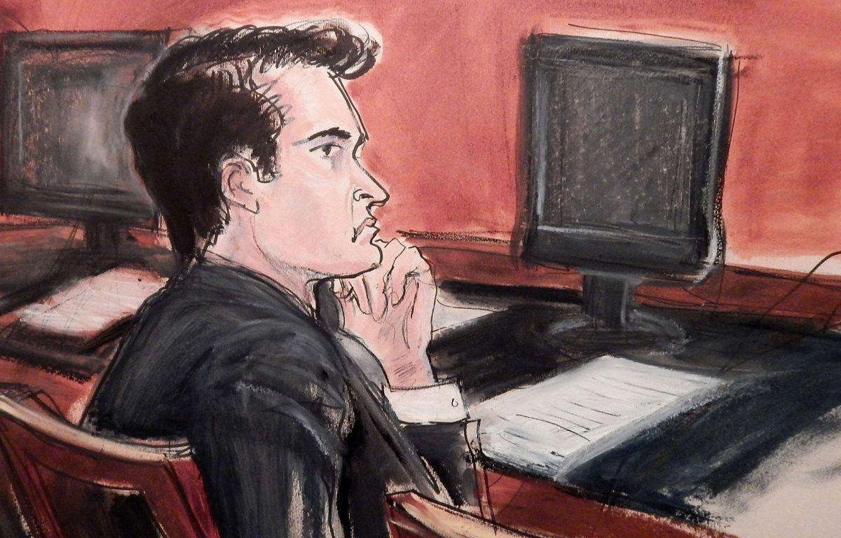 Un dessin de Ross Ulbricht, accusé d'être le cerveau derrière le site Silk Road, devant le tribunal de Manhattan, le 13 janvier 2014. – E.Williams/AP/SIPA