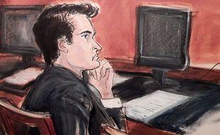 Un dessin de Ross Ulbricht, accusé d'être le cerveau derrière le site Silk Road, devant le tribunal de Manhattan, le 13 janvier 2014.