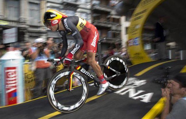 Le Belge Philippe Gilbert (BMC) lors du départ du prologue du Tour de France à Liège, le 30 juin 2012.