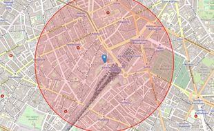 Voila le rayon dans lequel pourraient circuler les journalistes de 20 Minutes s'ils étaient confinés au siège parisien.