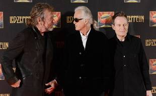 Robert Plant, Jimmy Page, et John Paul Jones de Led Zeppelin à Londres